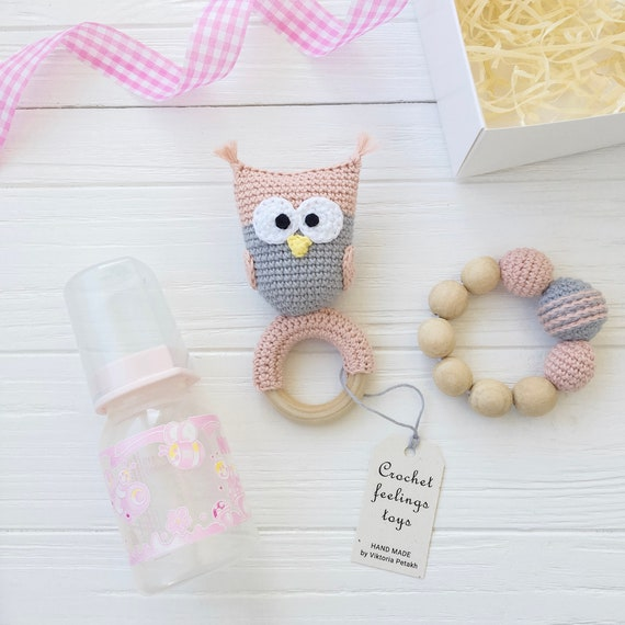 knitted owl christening present Personalised teething toy new baby gift baby rattle wooden teether