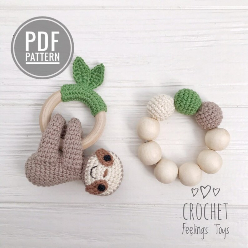 Sloth crochet rattle pattern Crochet teether pattern Amigurumi image 0