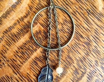 Feather and Pearl Earring