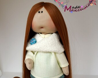 Long-haired textile doll for interior