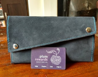 Blue Suede snap shut clutch, leather lining, hand sewn