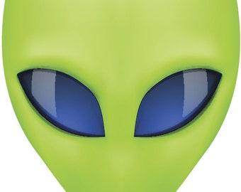 Vinyl Decal Slap Sticker Multi Color - Creepy Green 3D Alien Head with Blue Eyes (Tall)