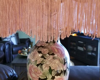 Beautiful Vintage Chinese Vase as Lamp Black with Pink Roses, Wooden Base, and Fringe Pink Shade