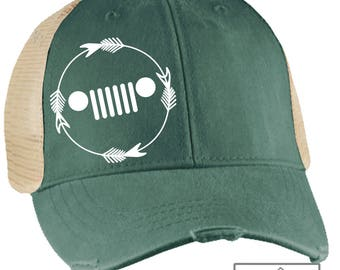 Cute Jeep  Hat With Grill - Forest Green Vintage - Trucker Hat - Jeep Hat