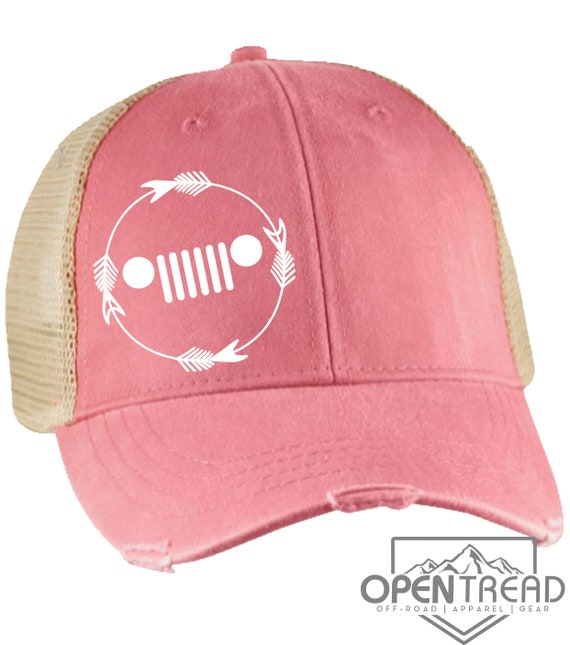 d1b60da2ae6eb Cute Jeep Hat With Grill Pink Mesh Vintage Trucker Hat