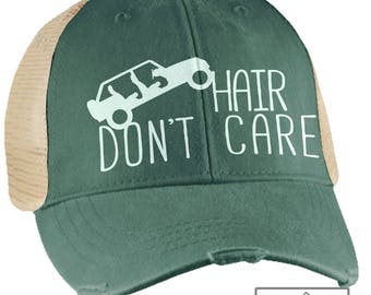 Jeep Hair Don't Care Hat - Forest Green Vintage - Trucker Hat - Jeep Hat