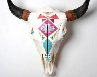 Hand Painted Bison Skull