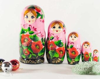 Matryoshka Poppies on Pink Russian Nesting Doll