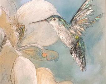 Hummingbird and Dogwood (Print)