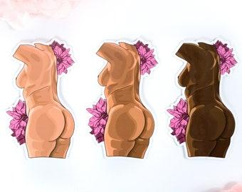 Body Autonomy Sticker / Floral Feminist Stickers / Nude Curvy Girl Sticker