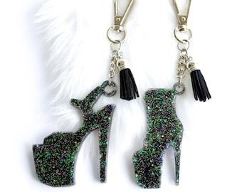 Black Heel Keychain / Pole Dancer Rear View Mirror Car Dangler / High Heel Resin Keychain / Platform Boots