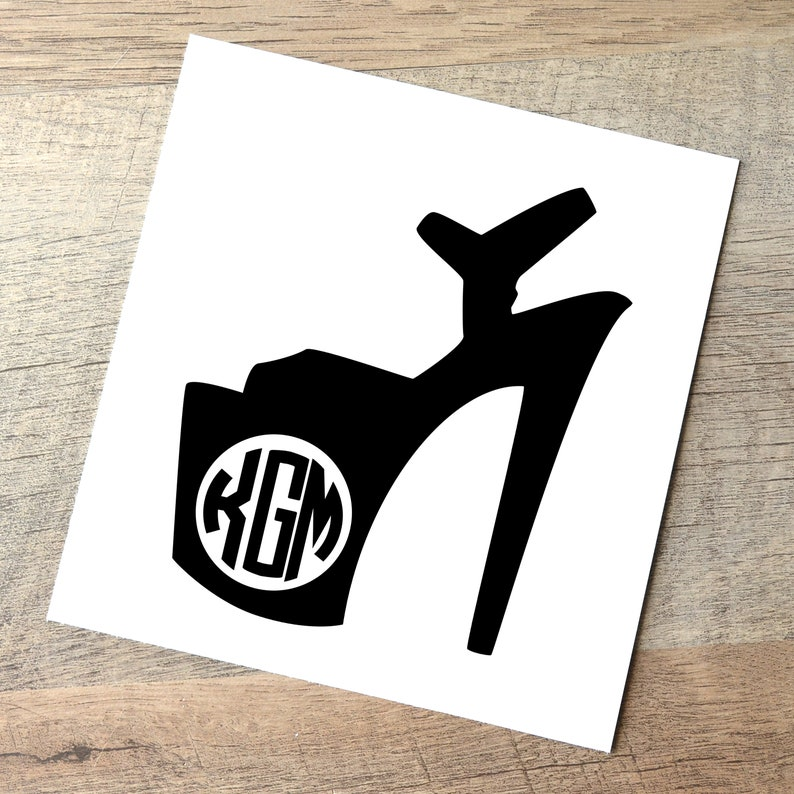 Monogram High Heel Decal / Personalized Pole Dance Sticker / Black