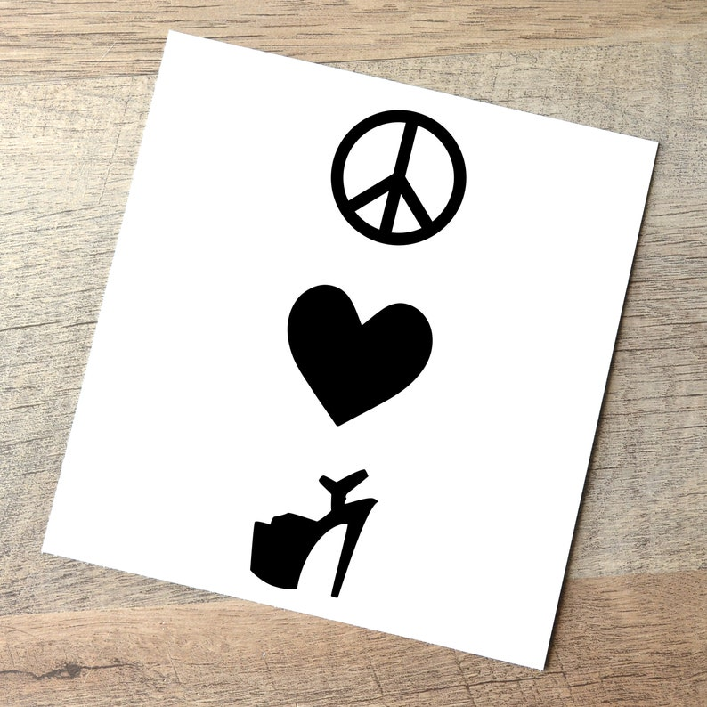 Peace Love Pole Dance Decal  Vertical / High Heel Lover Car Black