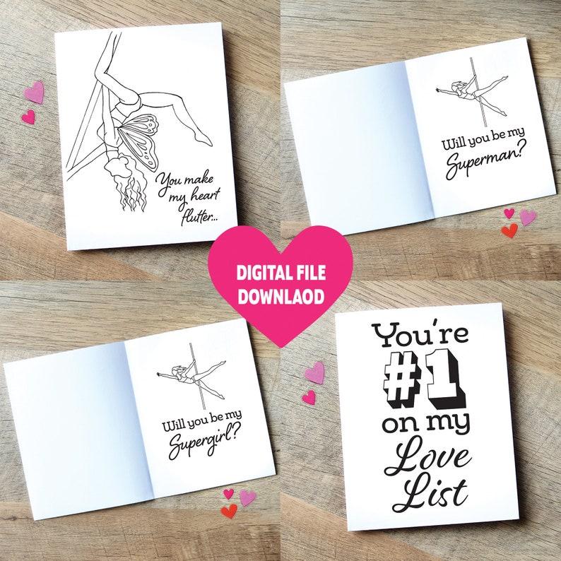Set of 4 Pole Dance Valentine's Day Cards / DIGITAL image 0