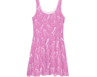 POD Light Pink Heels Galore Dress /  Pole Dancer or Stripper Gift / Plus Size Platform Heels Skater Dress