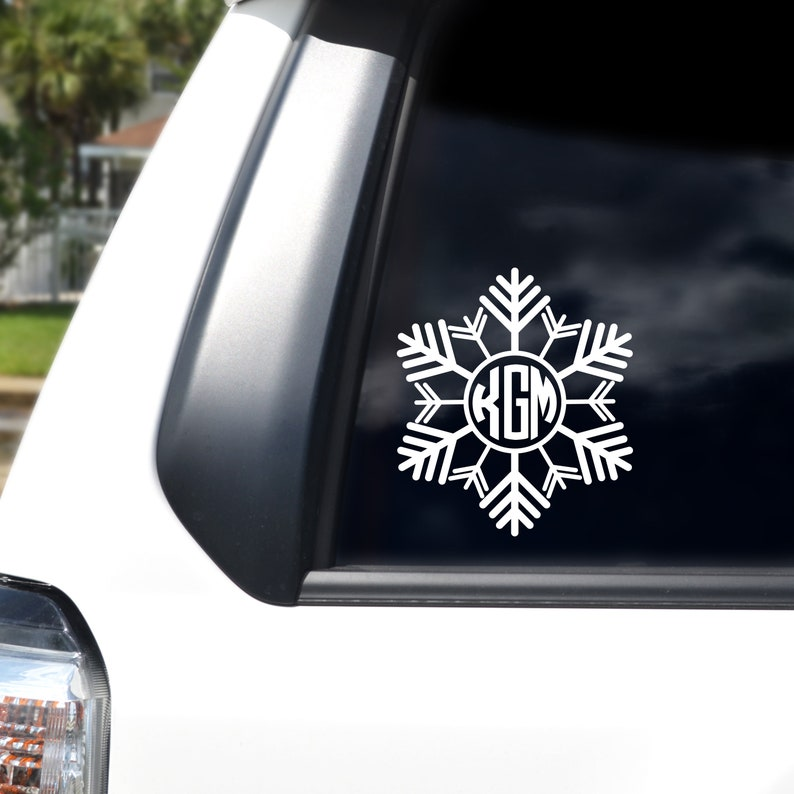 Snowflake Monogram Decal / Personalized Winter Sticker / White