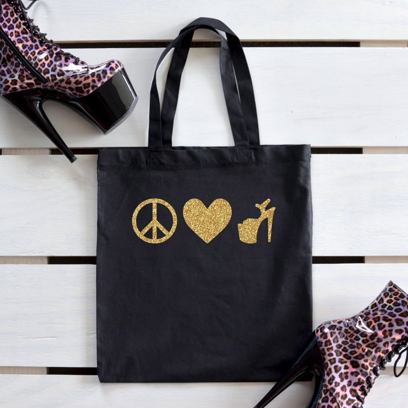 Peace Love Heels Tote Bag Gift / High Heel Lover Reusable Bag image 0