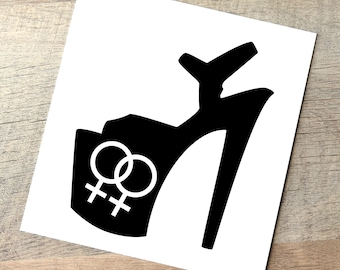 Donation Lesbian Pride Pole Dance Decal / Stripper Pride Car Decal / LGBT Sticker