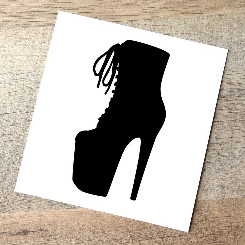 Ankle Boot Decal  8in Heel / Pole Dancer Sticker / High Heel Black