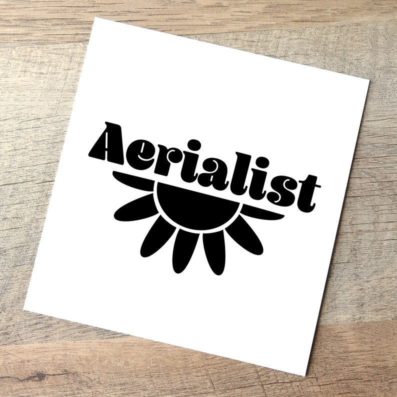Aerialist 70's Style Decal / Aerial Silks Lyra Hoop Pole Black