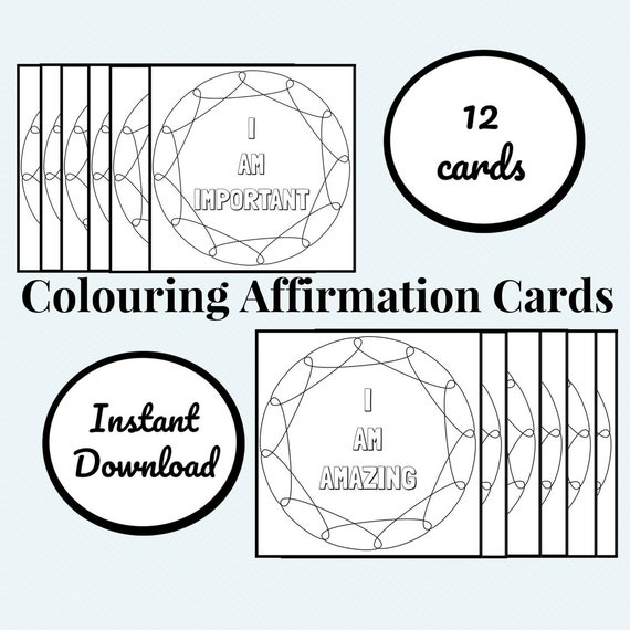 Printable Colouring Affirmation Cards Positive Messages Etsy