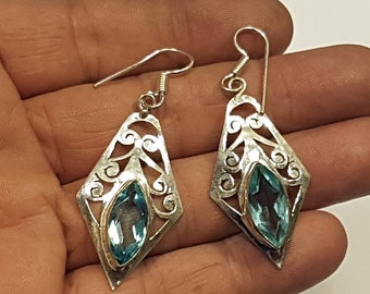 Gorgeous Blue Topaz Drop Dangle Earrings Silkver Plated Handmade Vintage Inspired