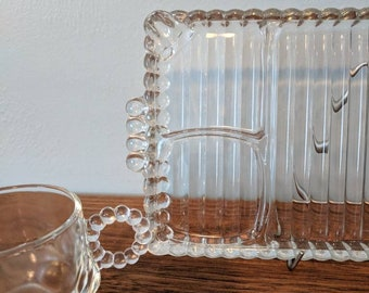 Vintage Sip, Snack, and Smoke Set ~ Hazel Atlas Depression Glass ~