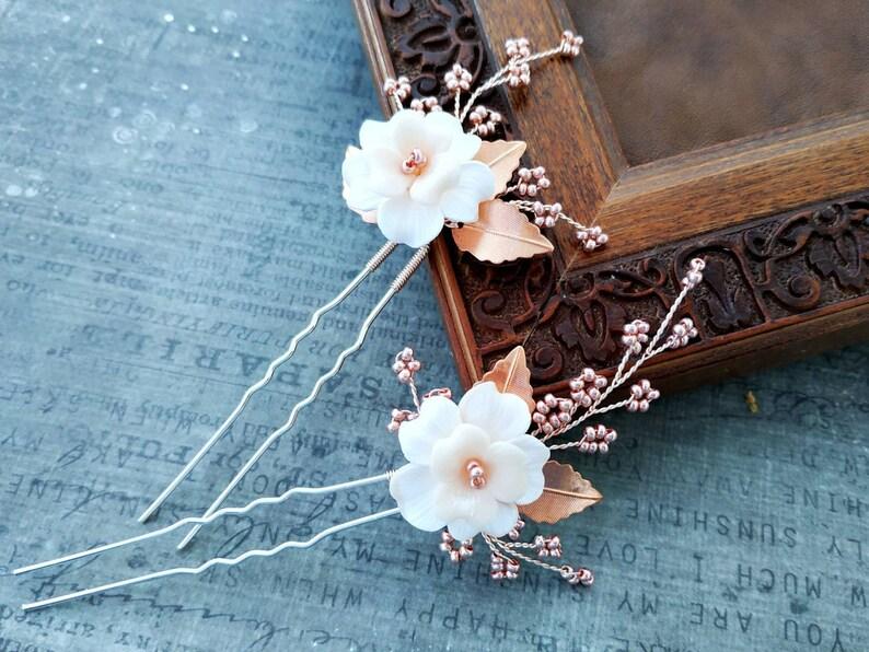 Flower hair pins rose gold Wedding hair pins
