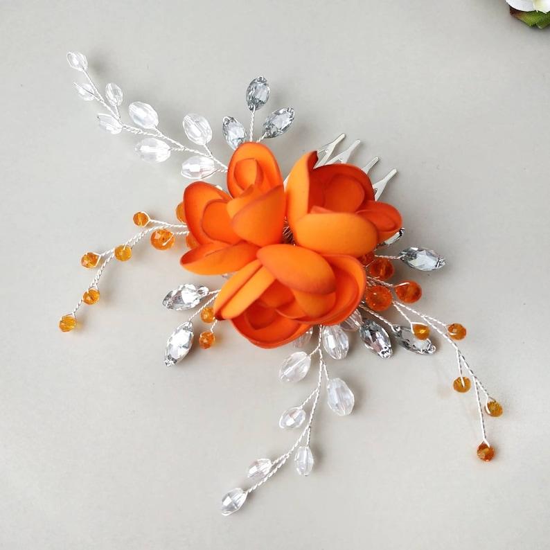 Orange crystal bridal hair piece for brides bridesmaids and flower girls Wedding hair piece