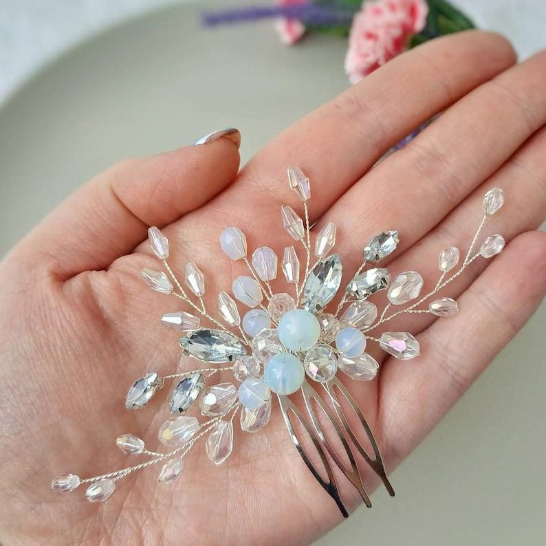 Wedding hair piece Crystal hair comb Blue opal hair piece Crystal headpiece Moon stone hair comb