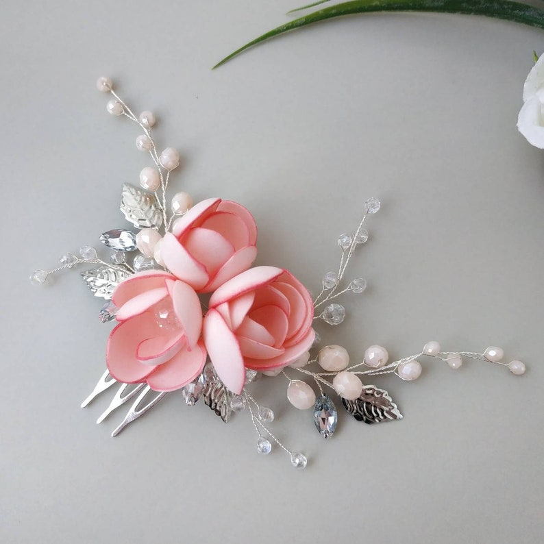 Blush crystal and flower bridal hair piece Blush flower hair comb Pink flower headpiece Nude hair piece