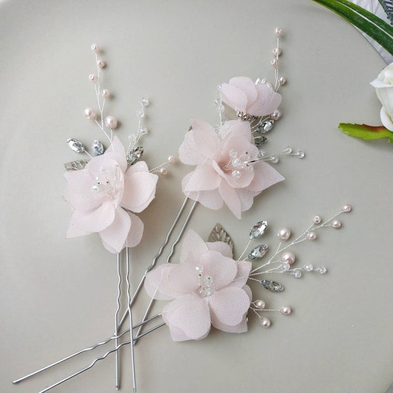 Magnolia pearl flower bridal hair piece Pearl and crystal hair vine with flowers