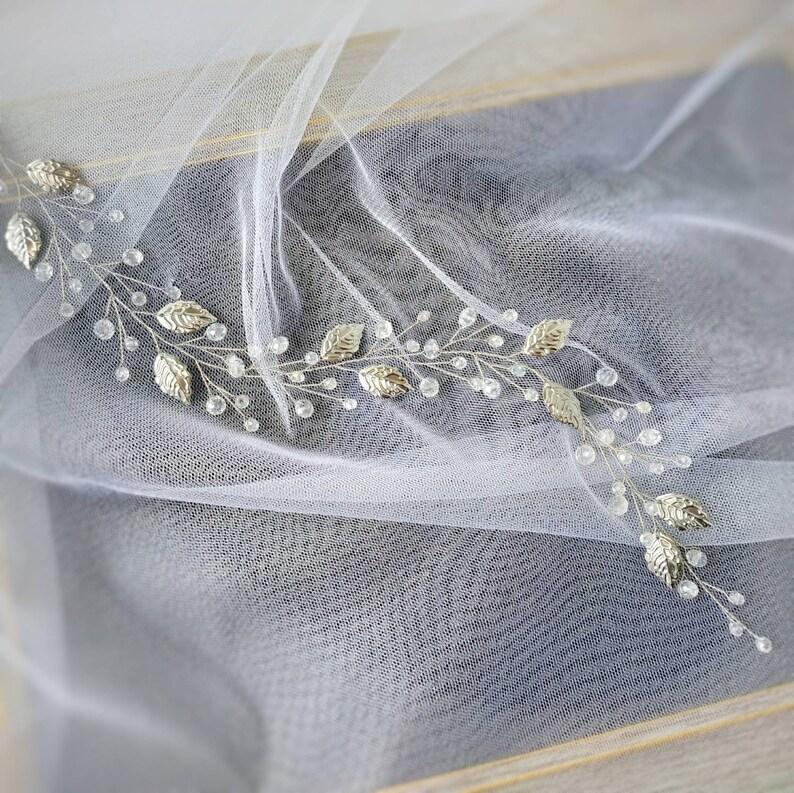 Long leaf hair vine Silver or Gold leaf headpiece Crystal headband Floral hair wreath