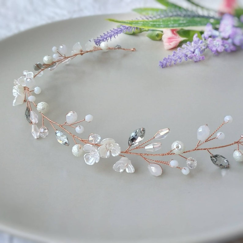 Wedding hair piece Rose gold hair vine Floral hair vine Flower headpiece Floral hair wreath Long floral hair vine