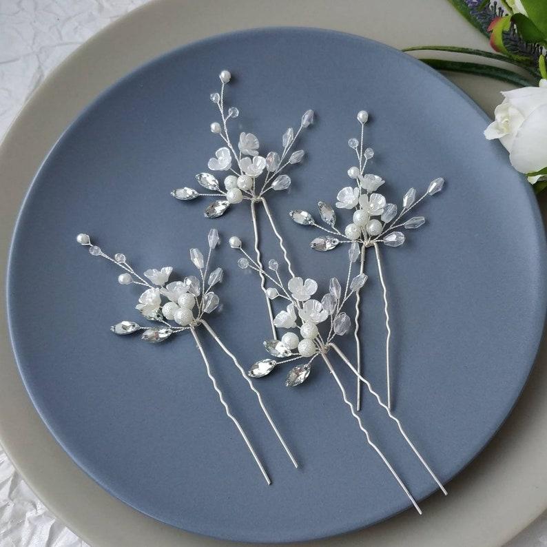 Bridal hair piece Baby/'s breath hair pins Flower headpiece Floral headpiece Bridal hair pins