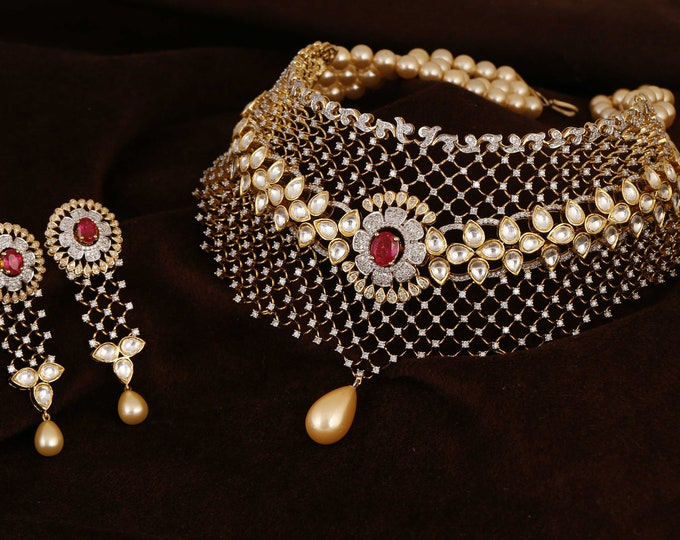 Featured listing image: Bridal Necklace and Earrings Set featuring Diamond, Pearls and Ruby in 18KT Yellow Gold by Derek Shemlon