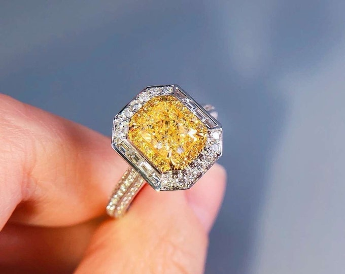 Featured listing image: Gem Select Crafts 18KT White Gold 1.07CT Yellow Diamond Engagement Ring