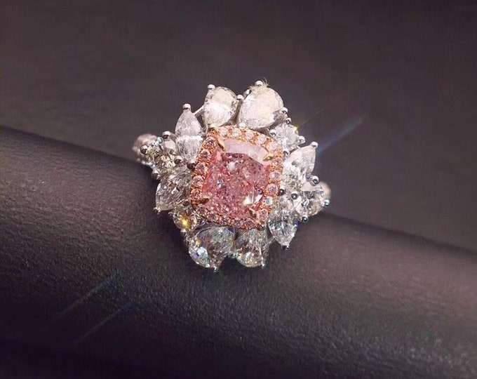 Featured listing image: Gem Select Crafts 1.02CT Pink Diamond Ring 18KT White Gold