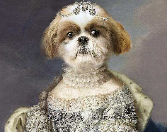 French Princess, Queen, 18 century, Personalized gift, Custom gift, Royal Pet, Regal pet portraits, Funny gift, Dog Portrait, by JAnovelty