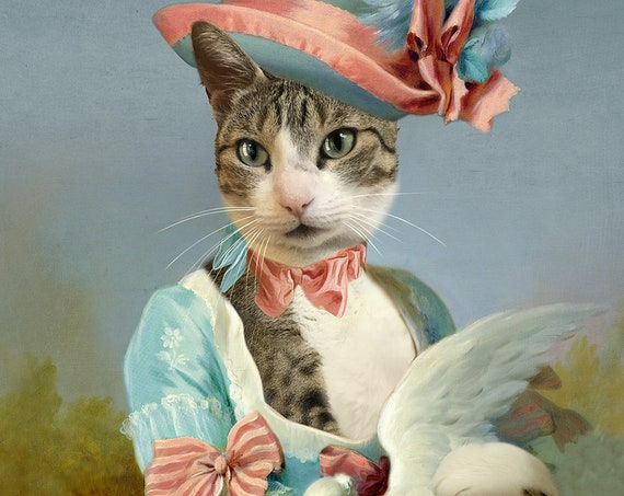 Your cat with blue hat painting from photo.  Digital 17th century portrait of your princess.