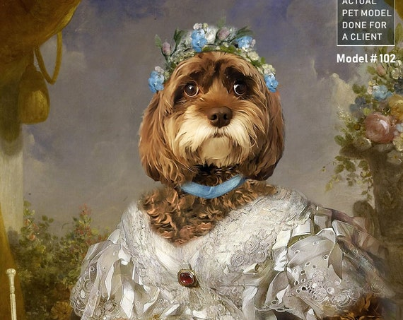 Your dog or cat as a Princess | Digital Portrait | 18th Century Historical Costume | Personalized Gift