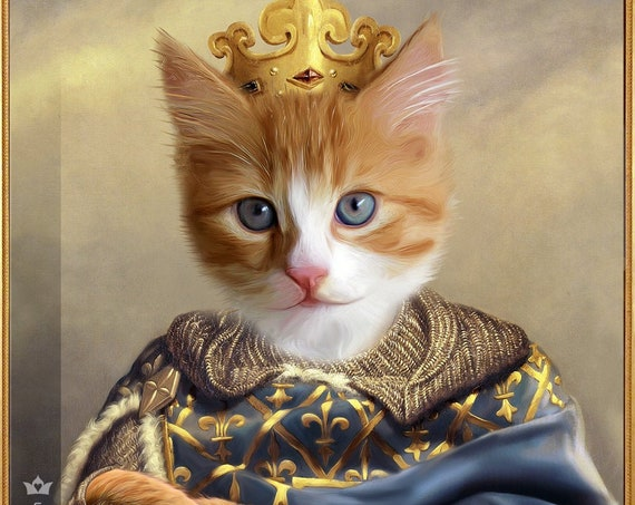 Henry VIII of England, Custom Pet Portrait, Dog Portrait, Renaissance Portrait, Regal Pet Portrait, Commission Pet Art, byJAnoveltyArt
