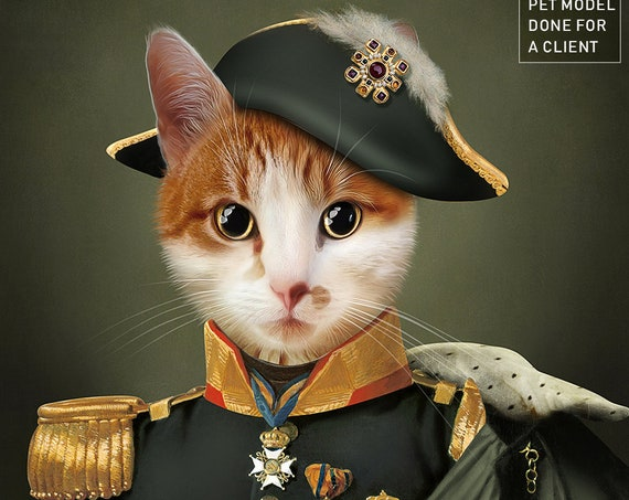 Your pet in Military Uniform | Digital Portrait | Unisex | Army Historical Costume | Personalized Gift
