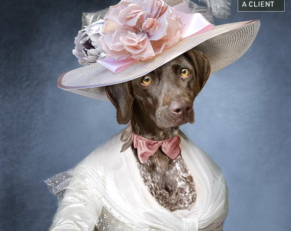 My fair lady Large hat, Personalized gift, Custom gift, Royal Pet, Regal pet portraits, Funny gift, Dog Portrait, by JAnovelty