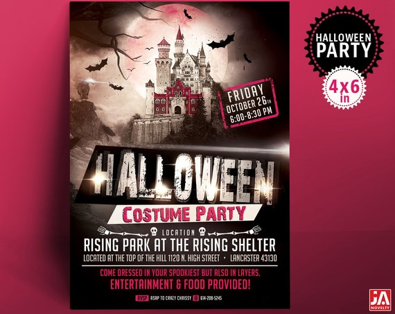 """Halloween Invitation, Halloween Invite, Halloween Party, 4*6"""" Customized Digital Printable File - Haunted Castle, Gothic, Costume Party"""