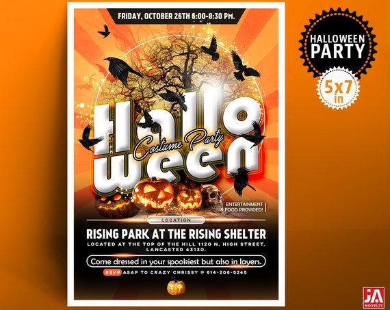 """Halloween Invitation, Halloween Invite, Halloween Party, 5*7"""" Customized Digital Printable File - Crows, Pumpkins, Skull, Costume Party"""