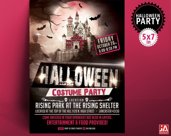 """Halloween Invitation, Halloween Invite, Halloween Party, 5*7"""" Customized Digital Printable File - Spooky Haunted Castle, Costume Party"""