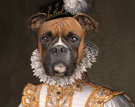 Classy custom pet portrait, Custom Pet Portraits, Dog Portrait, Custom pet art, Medieval dog portrait, Renaissance dog portrait by JAnovelty