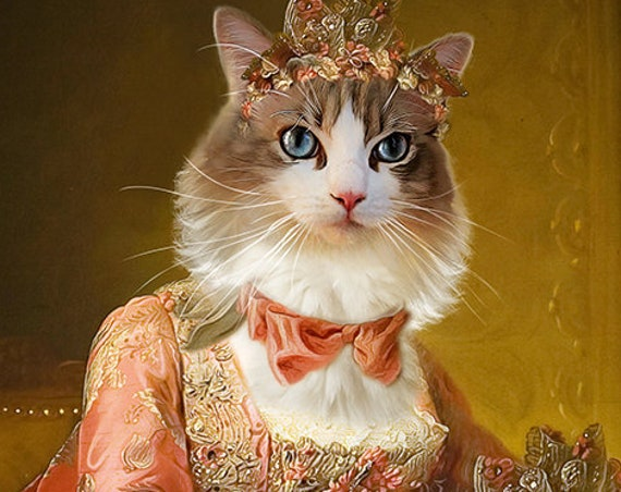 Royal Woman Custom Pet Portraits, Dog or Cat Portrait, Neoclassical, 17 century, Digital personalized poster, Pet Portrait by JAnovelty