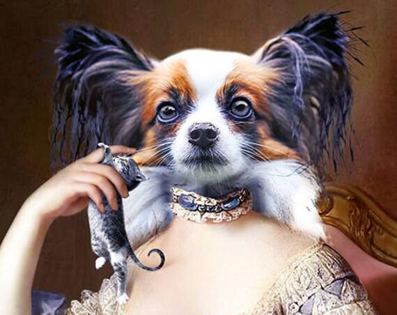 French DOG Queen MARIE ANTOINETTE, historical pet portraits, Custom Pet Portrait, Digital portrait, Pet lover gift, Pet art by JAnovelty